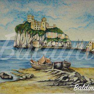Mattonella artigianale 50 x 50 Veduta Ischia il Castello 2