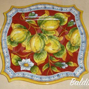 Piatto quadrato  800 Decoro Limoni con fascia BC STO 016