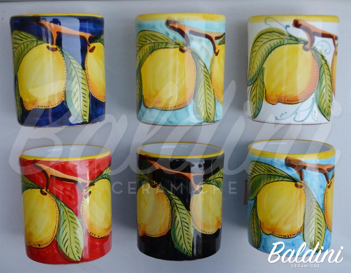 Bicchieri cm. 10 senza manico u2013 decoro limoni u2013 baldini ceramiche