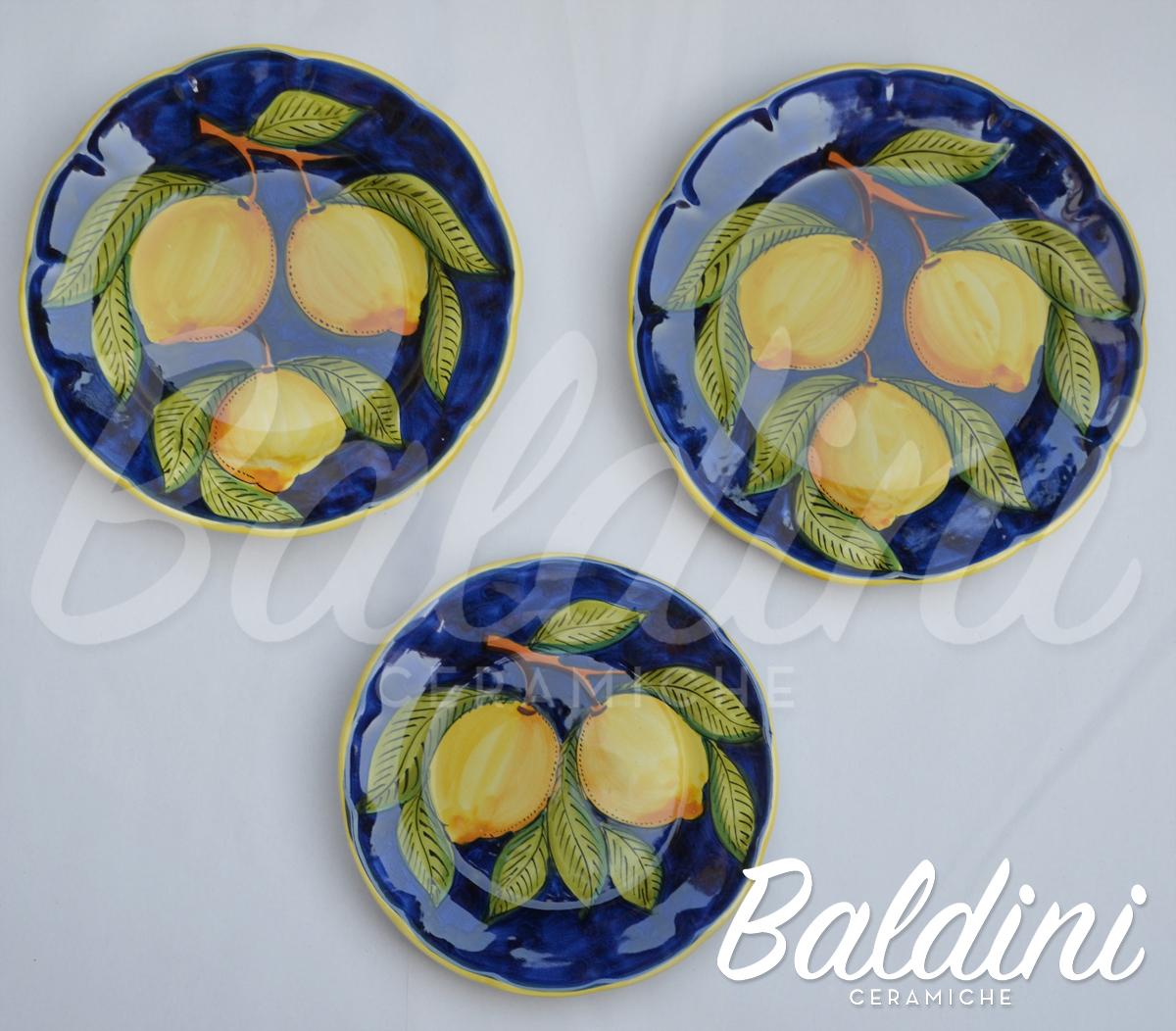 tris tipo vietri limoni blu